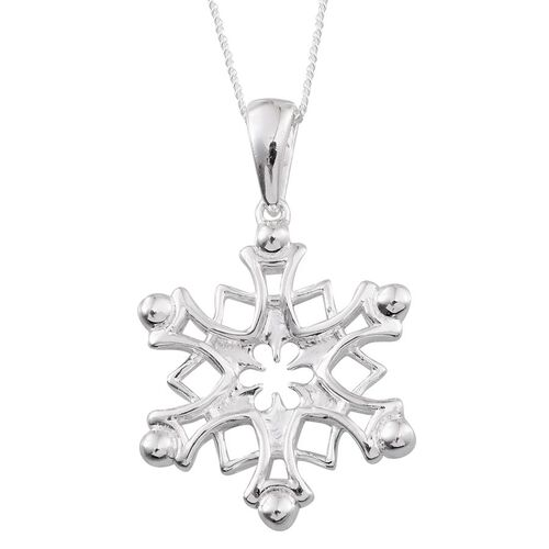 Sterling Silver Snowflake Pendant With Chain, Silver wt 4.63 Gms.