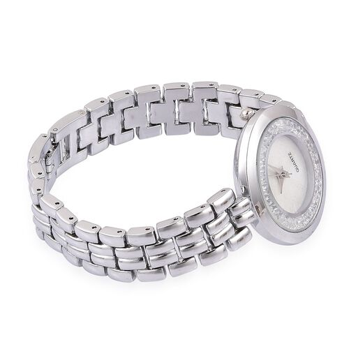 STRADA Japanese Movement Mother Of Pearl Watch in Silver Tone