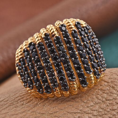 Boi Ploi Black Spinel (Rnd) Cluster Ring in 14K Gold Overlay Sterling Silver 2.750 Ct.