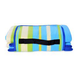 Waterproof Picnic Blanket, Oeko-Tex Certified, Multi Colour Stripes (Family-Size 165x130 Cm)