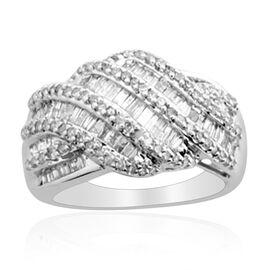 14K W Gold Diamond (Bgt) Criss Cross Ring 1.000 Ct.