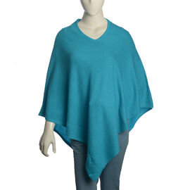 100% Very Rare Pashmina Wool Designer Inspired Womens Poncho in Turquoise Colour (Free Size)