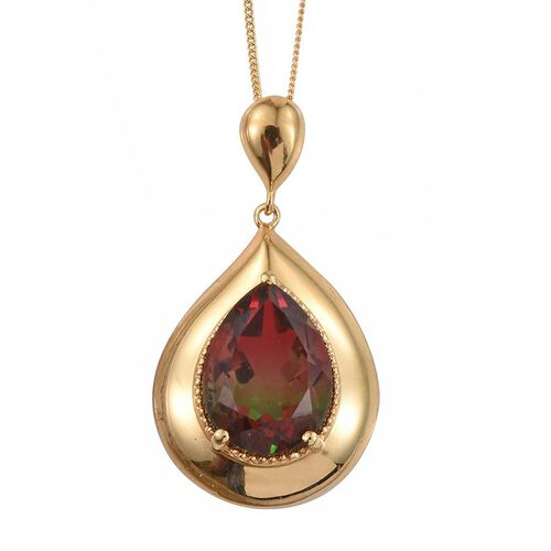 Bi-Color Tourmaline Quartz (Pear) Solitaire Pendant With Chain in 14K Gold Overlay Sterling Silver 8.500 Ct.