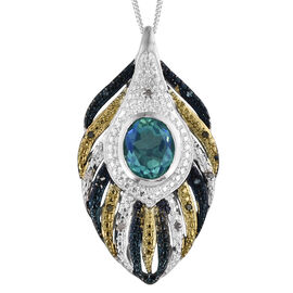 Peacock Quartz (Ovl 3.15 Ct), Green, Blue and White Diamond Feather Pendant With Chain in Platinum Overlay Sterling Silver 3.250 Ct.