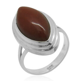 Royal Bali Collection Red Jade (Mrq) Solitaire Ring in Sterling Silver 8.720 Ct.
