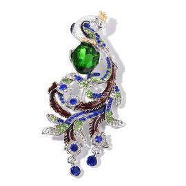 Designer Inspired AAA Multi Colour Austrian Crystal and Simulated Russian Diopside Peacock Brooch in Silver Tone