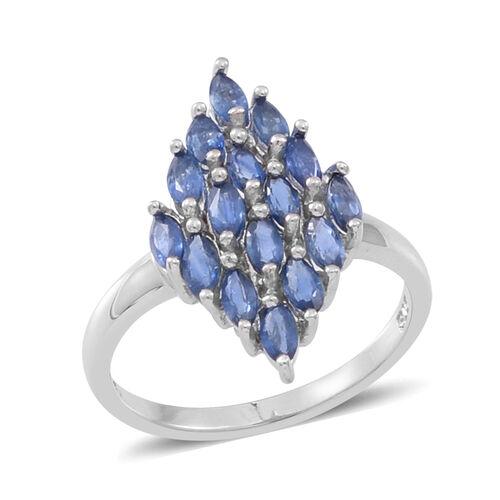9K W Gold Kanchanaburi Blue Sapphire (Mrq) Cluster Ring 1.750 Ct.