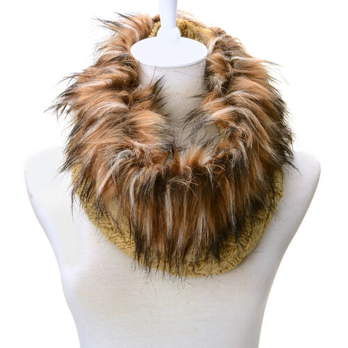 Khaki Colour Neck Scarf with Fur Collar (Free Size)