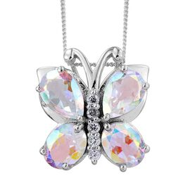 Mercury Mystic Topaz (Pear), Natural Cambodian Zircon Butterfly Pendant With Chain in Platinum Overlay Sterling Silver 5.750 Ct.
