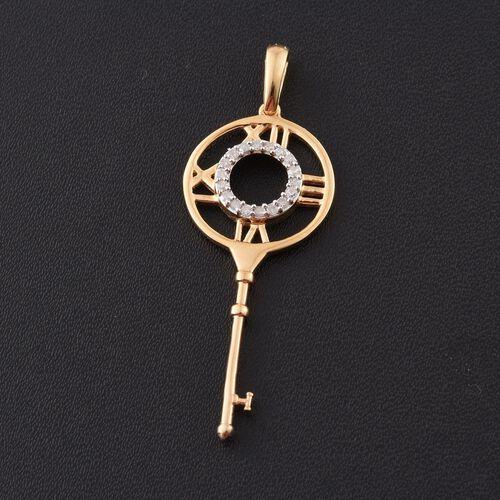 Diamond 0.15 Ct Silver Roman Numeral Key Pendant in Gold Overlay