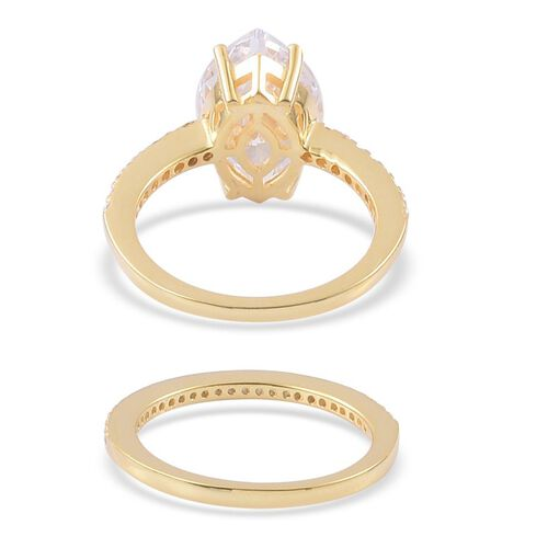 ELANZA AAA Simulated White Diamond 2 Ring Set in Yellow Gold Overlay Sterling Silver