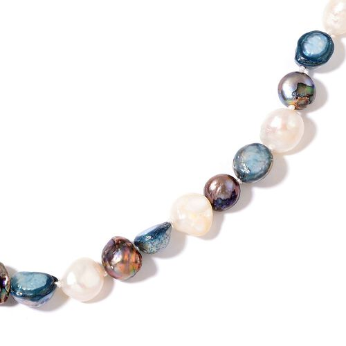 Fresh Water Peacock, Teal and White Pearl Necklace (Size 46)