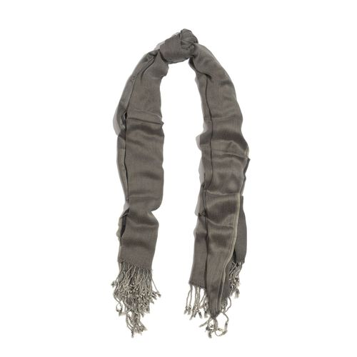 One Time Deal 100% Rayon Dark Grey Colour Scarf with Fringes (Size 175x70 Cm)