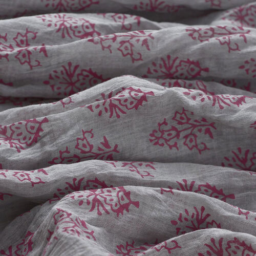 100% Cotton Fuchsia Colour Flowers Printed Grey Colour Scarf (Size 220x100 Cm)