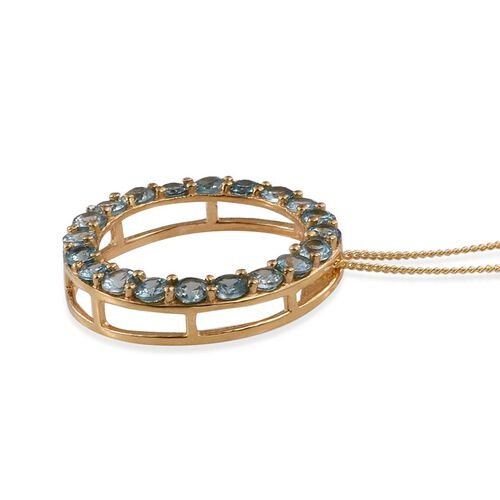 Natural Cambodian Blue Zircon (Rnd) Circle of Life Pendant With Chain in 14K Gold Overlay Sterling Silver 3.500 Ct.
