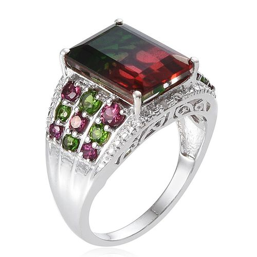 Tourmaline Colour Quartz (Oct 6.75 Ct), Rhodolite Garnet, Russian Diopside and Diamond Ring in Platinum Overlay Sterling Silver 8.530 Ct.