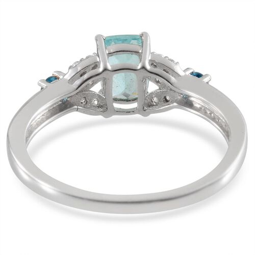 Paraibe Apatite (Cush 0.75 Ct), Malgache Neon Apatite and White Topaz Ring in Platinum Overlay Sterling Silver 1.100 Ct.