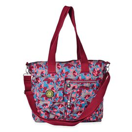 Designer Inspired Burgundy, Green and Multi Colour Printed Hand Bag With External Pocket (Size 33x32x12 Cm)