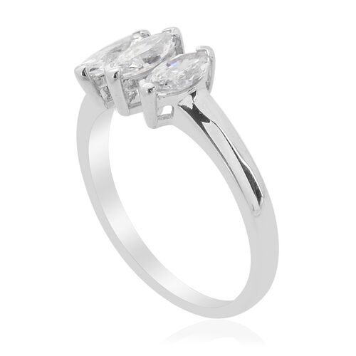 J Francis - Platinum Overlay Sterling Silver (Mrq) Ring Made with SWAROVSKI ZIRCONIA  1.050 Ct.
