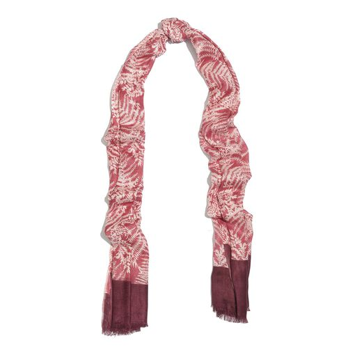White Colour Leaves Pattern Light and Dark Pink Colour Scarf (Size 180x55 Cm)
