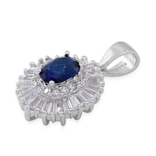 ELANZA AAA Simulated Tanzanite (Ovl), Simulated Diamond Pendant in Rhodium Plated Sterling Silver