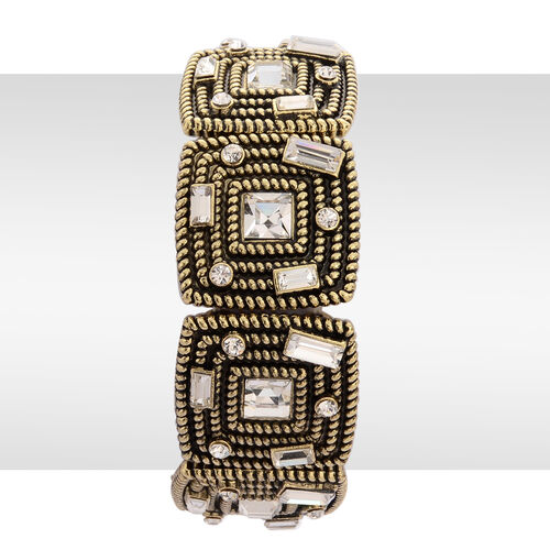 AAA White Austrian Crystal and White Glass Stretchable Bracelet (Size 7.5) in Gold Tone