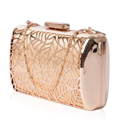 (Option 2) Premium Collection Gold Plating Leaf Design Clutch Bag with Chain Strap (Size 16x10x5 Cm)