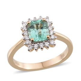 ILIANA 18K Y Gold Boyaca Colombian Emerald (Oct 1.35 Ct), Diamond Ring 1.650 Ct.