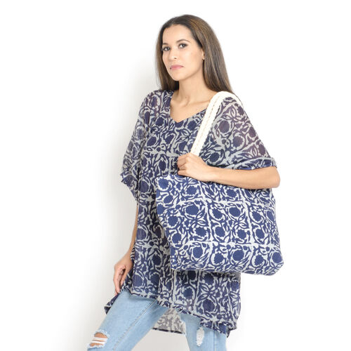 100% Cotton Blue Colour Printed Kaftan (Free Size), Bag (Size 50x40 Cm) and Flip Flop