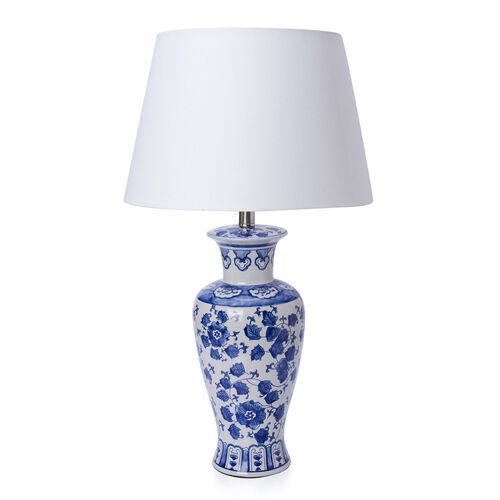 Classic Chinese Blue Colour Flowers and Leaves Printed White Colour Table Lamp (Size 60x37 Cm)