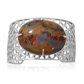 Natural Russian Eudialyte (Ovl) Bangle in Platinum Overlay Sterling Silver (Size 7.5) 45.000 Ct. Silver Weight 30 Grms.