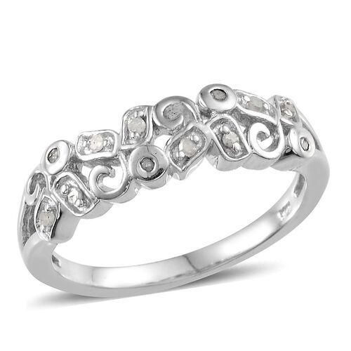 Diamond (Rnd) Ring in Platinum Overlay Sterling Silver 0.168 Ct.