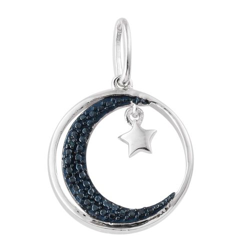 Blue Diamond (Rnd) Moon and Star Charm Pendant in Platinum Overlay Sterling Silver