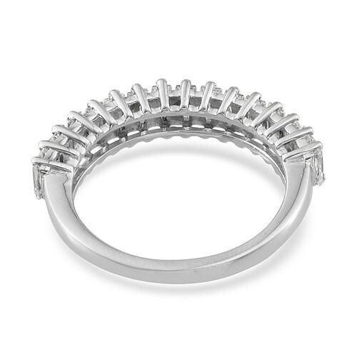 J Francis - Platinum Overlay Sterling Silver (Bgt) Half Eternity Ring Made with SWAROVSKI ZIRCONIA