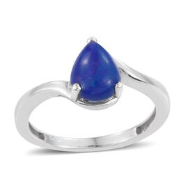 Blue Ethiopian Opal (Pear) Solitaire Ring in Platinum Overlay Sterling Silver 1.000 Ct.
