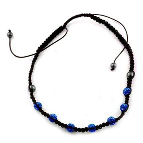 Blue Austrian Crystal, Hematite Necklace (Adjustable) 32.000 Ct.
