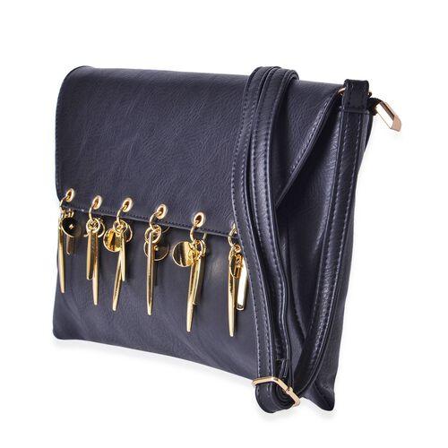 Black Colour Clutch Bag with Adjustable Shoulder Strap (Size 30x20 Cm)
