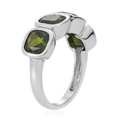Russian Diopside (Cush) Ring in Rhodium Plated Sterling Silver 4.250 Ct.