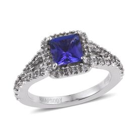 RHAPSODY 950 Platinum AAAA Tanzanite (Sqr 0.95 Ct), Natural Cambodian White Zircon Ring 1.670 Ct.