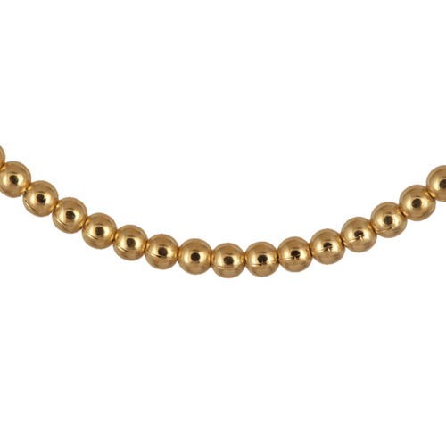 Close Out Deal Yellow Gold Overlay Sterling Silver Bead Necklace (Size 20), Silver wt 7.70 Gms.
