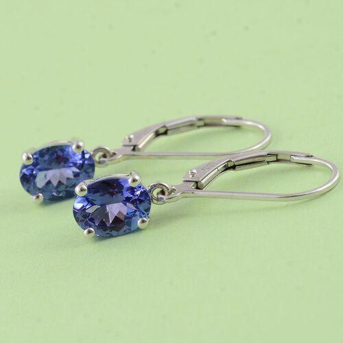 ILIANA 18K W Gold AAA Tanzanite (Ovl) Lever Back Earrings 2.000 Ct. Gold Wt 2.00 Gms.