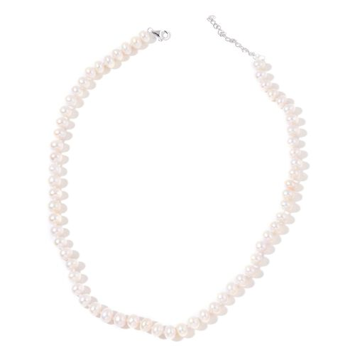 9K W Gold Fresh Water White Pearl (8-9 mm) Necklace (Size 18 with 2 inch Extender)