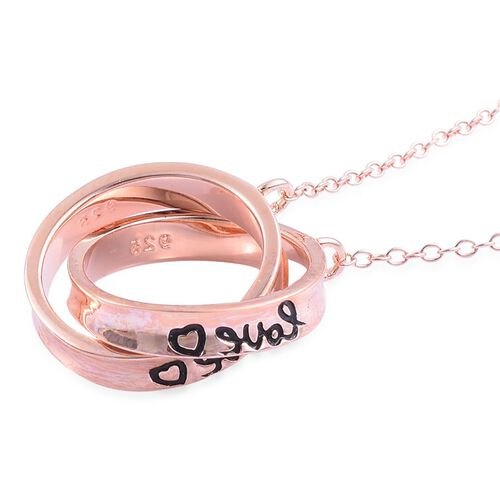 Rose Gold Overlay Sterling Silver Interlocking Ring Necklace (Size 18), Silver wt 4.45 Gms.