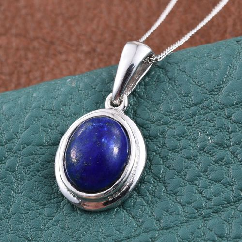 Lapis Lazuli (Ovl) Solitaire Pendant With Chain in Platinum Overlay Sterling Silver 2.750 Ct.