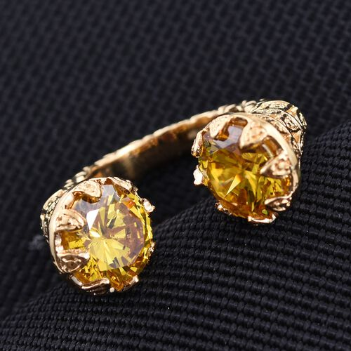AAA Simulated Citrine (Rnd) Ring in ION Plated 18K Yellow Gold Bond