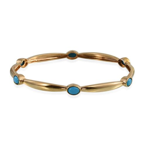 Arizona Sleeping Beauty Turquoise (Ovl) Bangle (Size 7.5) in 14K Gold Overlay Sterling Silver 2.000 Ct.