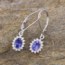 ILIANA 18K W Gold AAA Tanzanite (Ovl), Diamond Lever Back Earrings 1.250 Ct.