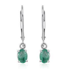 14K W Gold Boyaca Colombian Emerald (Ovl) Lever Back Earrings 0.900 Ct.