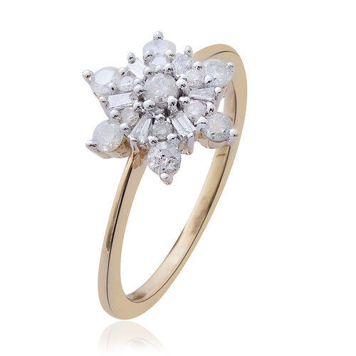 9K Yellow Gold 0.50 Carat Diamond Cluster Snowflake Ring SGL Certified I3 G-H.