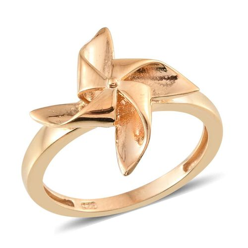 14K Gold Overlay Sterling Silver Origami Windmill Ring, Silver wt 2.97 Gms.